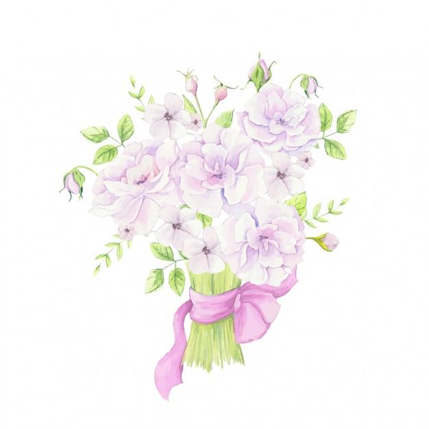 Aquarelle Bouquet De Fleurs D'églantier Avec Un Ruban Rose. Illustration Vectorielle Vecteur Premium
