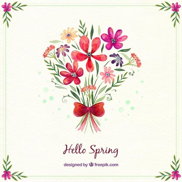 Aquarelle bouquet de fleurs fond Vecteur gratuit