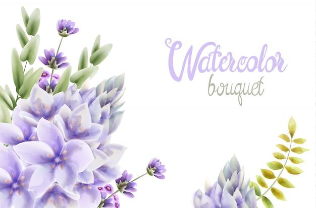 Aquarelle bouquet de fleurs de jacinthe Vecteur Premium