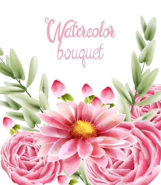 Aquarelle bouquet de fleurs de marguerite rose avec des feuilles Vecteur Premium