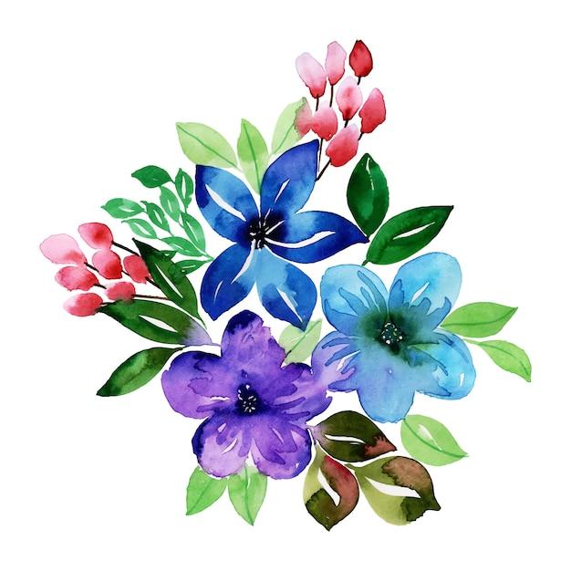 Aquarelle bouquet floral Vecteur Premium