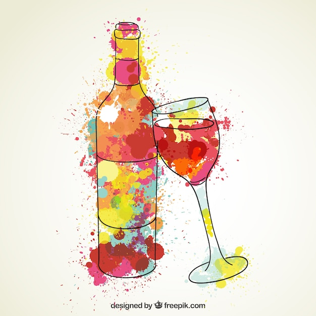Aquarelle bouteille de vin et verre vin t l charger - Verre de vin dessin ...