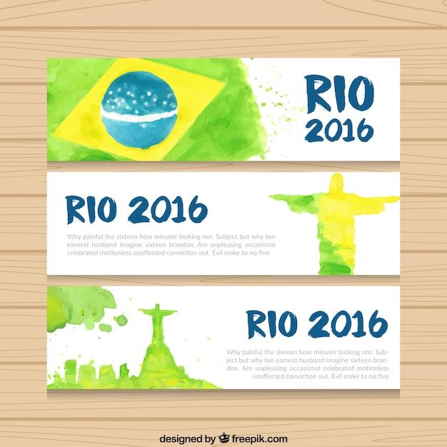 Aquarelle brazil 2016 bannières Vecteur gratuit