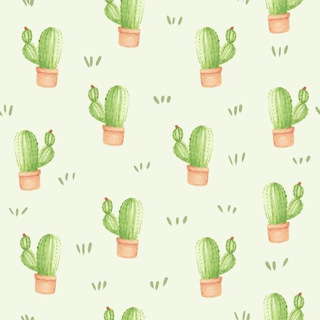 Aquarelle cactus sans soudure de fond Vecteur Premium
