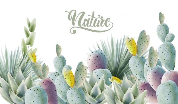 Aquarelle cactus vert et feuilles de palmier fond Vecteur Premium