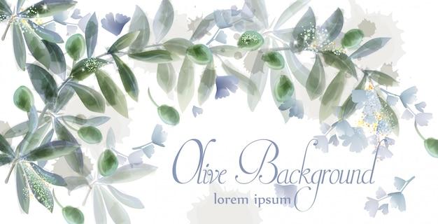 Aquarelle de cadre de carte de feuilles Vecteur Premium