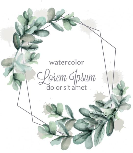 Aquarelle de cadre de couronne de feuilles abstraites Vecteur Premium