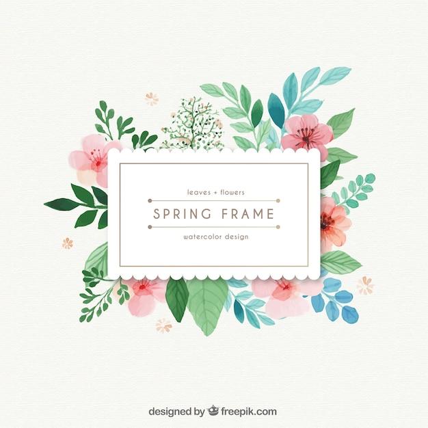 Aquarelle cadre de printemps avec des feuilles et des fleurs Vecteur gratuit