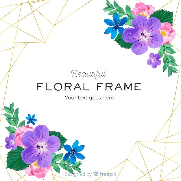 Aquarelle cadre doré avec des fleurs Vecteur gratuit