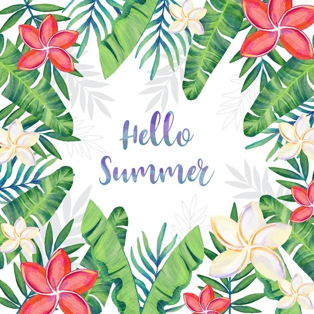 Aquarelle cadre d'été avec décoration florale Vecteur gratuit
