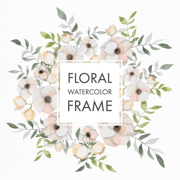 Aquarelle cadre floral avec des fleurs pastel Vecteur gratuit