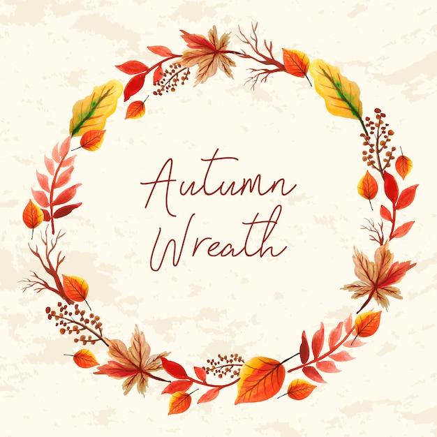 Aquarelle cadre floral, feuilles automne couronne Vecteur Premium