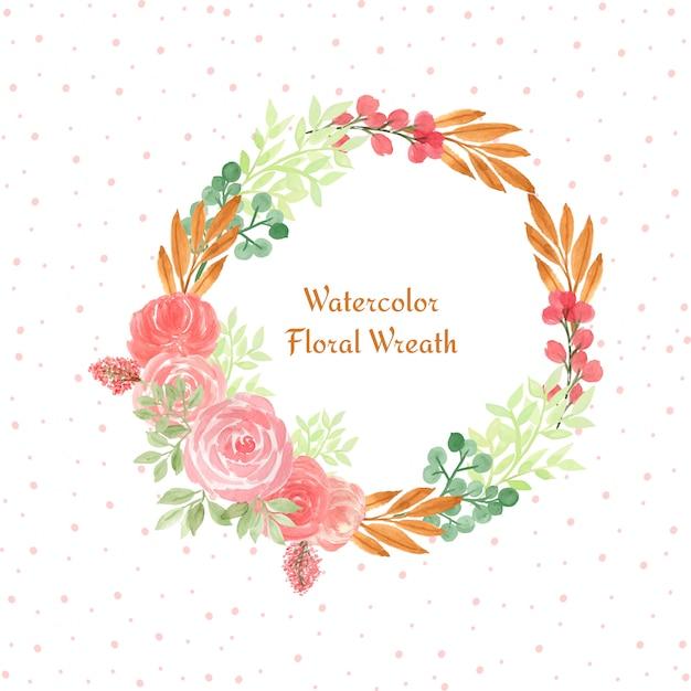 Aquarelle cadre floral avec des fleurs colorées Vecteur Premium