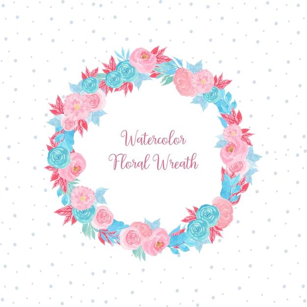 Aquarelle cadre floral avec des fleurs Vecteur Premium