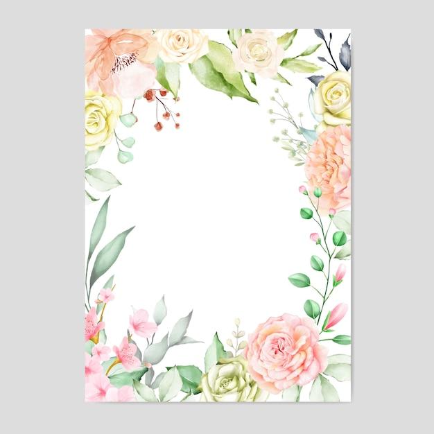 Aquarelle cadre floral multi usage fond Vecteur Premium