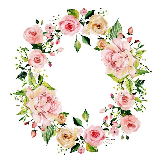 Aquarelle cadre floral rose rose Vecteur Premium