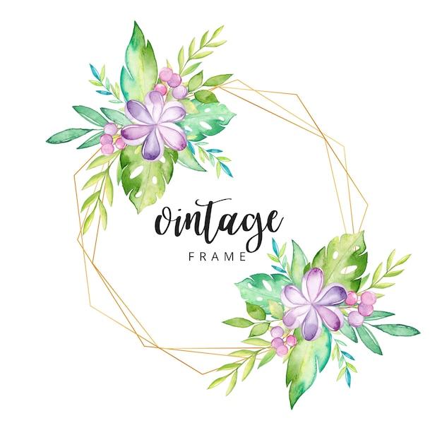 Aquarelle cadre floral tropical Vecteur Premium