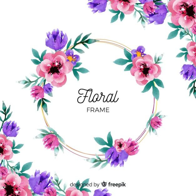 Aquarelle cadre floral Vecteur gratuit