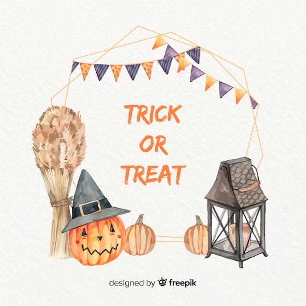 Aquarelle Cadre Halloween Avec Guirlande Vecteur gratuit