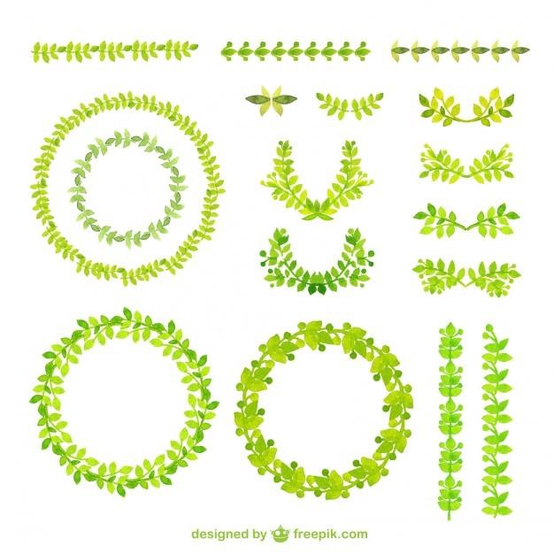 Aquarelle cadres verts Vecteur gratuit