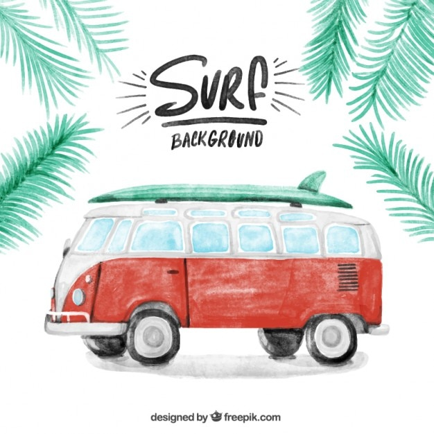 Aquarelle caravane vintage avec un fond de surf Vecteur gratuit