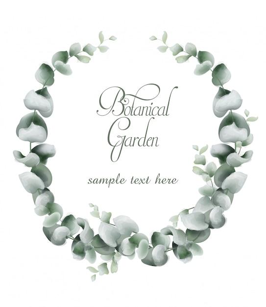 Aquarelle de carte de couronne de feuilles vertes Vecteur Premium