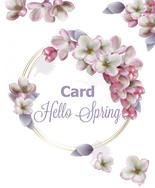 Aquarelle de carte de fleurs lilas Vecteur Premium