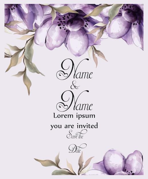 Aquarelle de carte de fleurs violettes Vecteur Premium