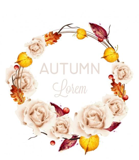 Aquarelle de carte guirlande roses automne Vecteur Premium