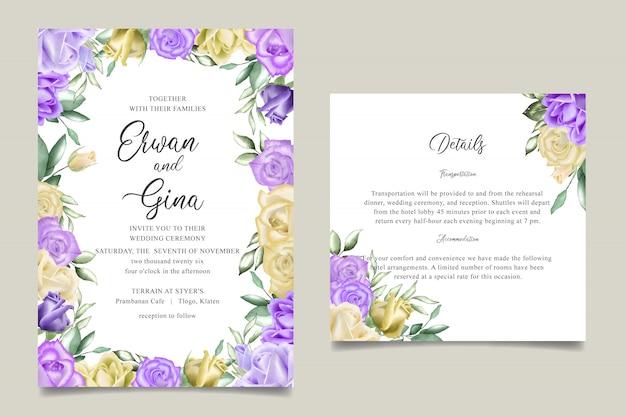 Aquarelle carte de modèle invitation mariage floral Vecteur Premium