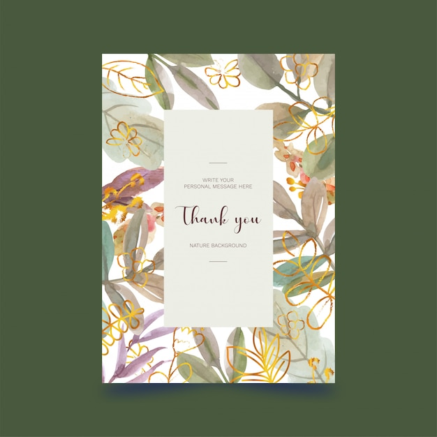 Aquarelle Carte Postale Florale Vecteur Premium