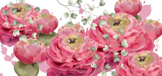 Aquarelle de carte de voeux de fleurs de printemps Vecteur Premium