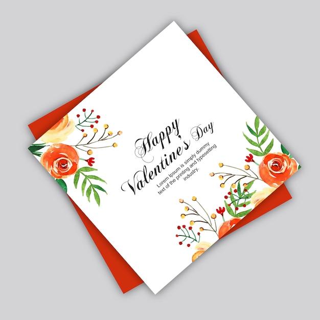 Aquarelle cartes de saint valentin Vecteur Premium
