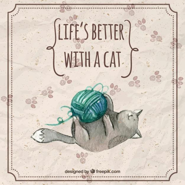 Aquarelle chat jouant une pelote de laine avec une phrase Vecteur gratuit