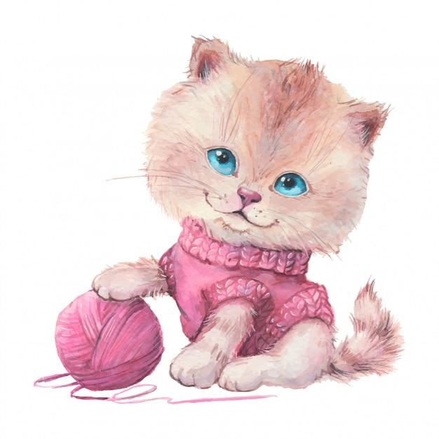 Aquarelle chat mignon de bande dessinée dans un pull avec une pelote de laine. Vecteur Premium