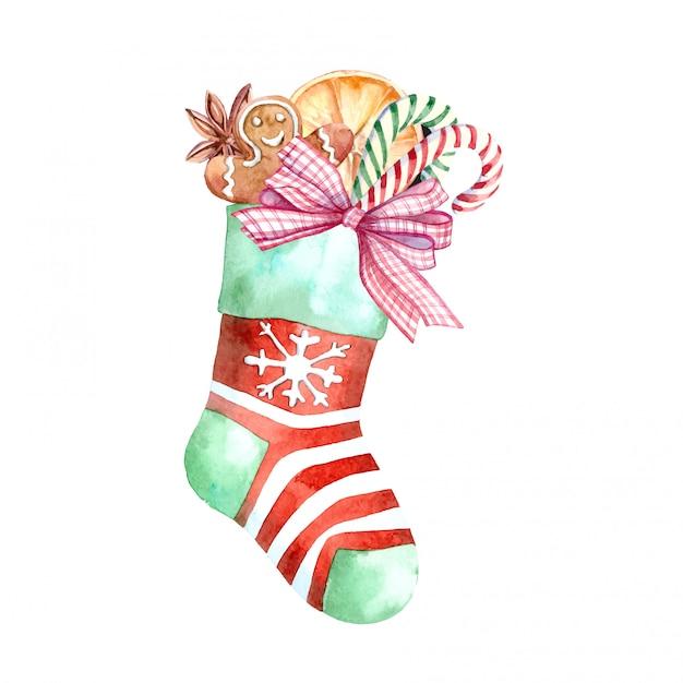 Aquarelle chaussette de noël avec des bonbons et des cadeaux Vecteur Premium