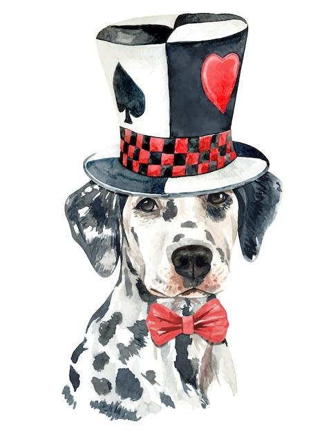 Aquarelle chien dalmatien avec chapeau haut de forme magique Vecteur Premium