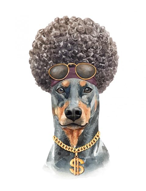 Aquarelle de chien doberman aux cheveux afro. Vecteur Premium