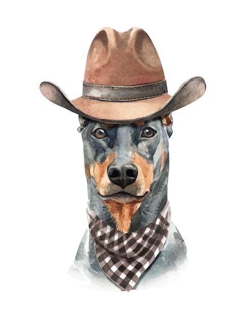 Aquarelle de chien doberman avec costume. Vecteur Premium