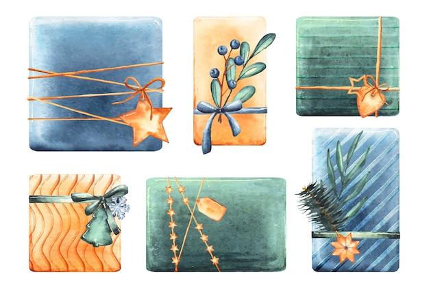 Aquarelle collection de cadeaux de noël Vecteur gratuit
