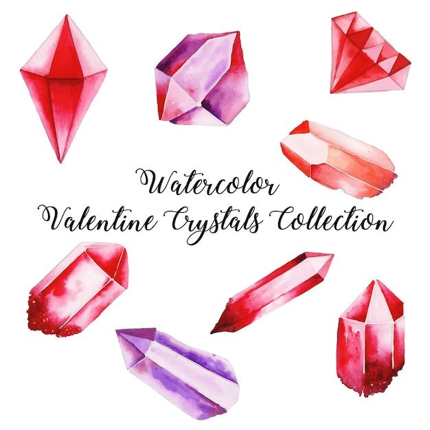 Aquarelle Collection Cristal Saint Valentin Vecteur Premium