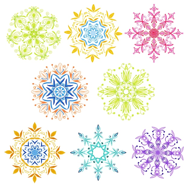 Aquarelle collection de flocons de neige de noël Vecteur Premium