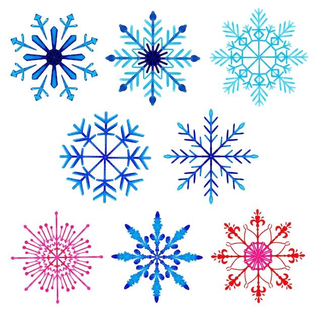 Aquarelle collection de flocons de neige de noël Vecteur Premium