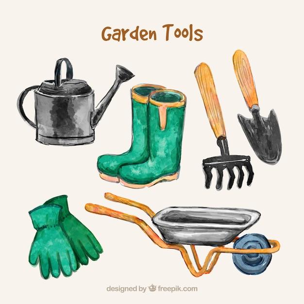 Aquarelle collection d'outils de jardin Vecteur gratuit