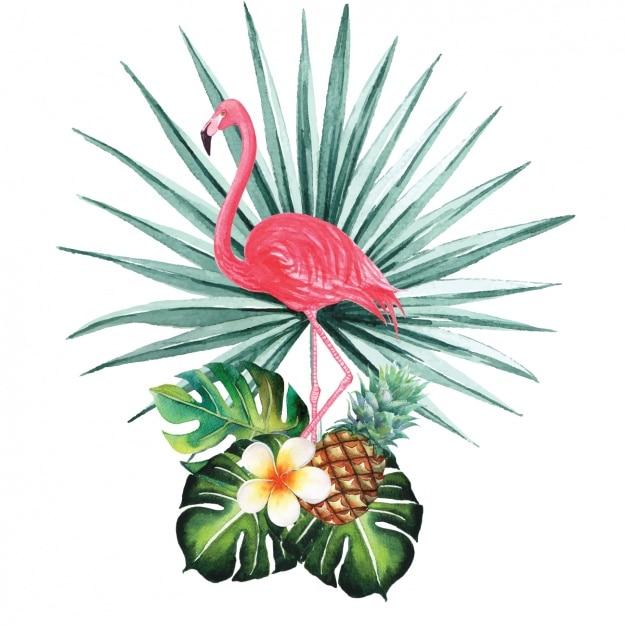 Aquarelle conception flamingo décoratif Vecteur gratuit