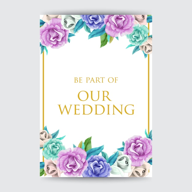Aquarelle conceptions de cartes d'invitation Vecteur Premium