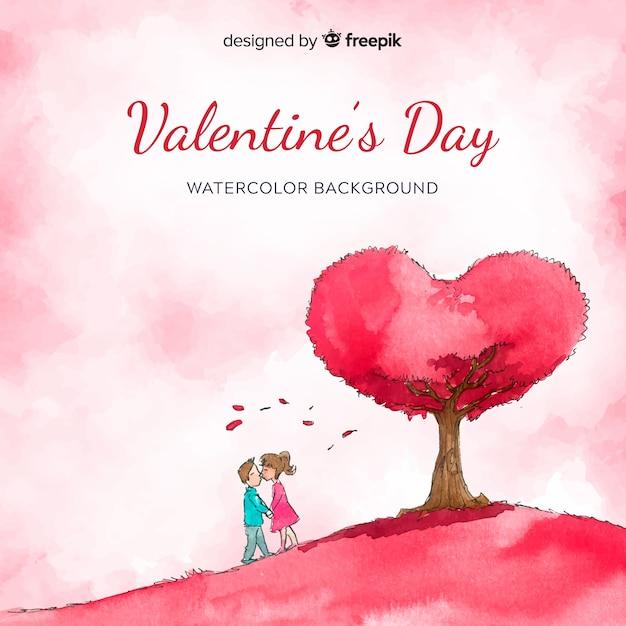 Aquarelle, couple, fond, valentin Vecteur gratuit