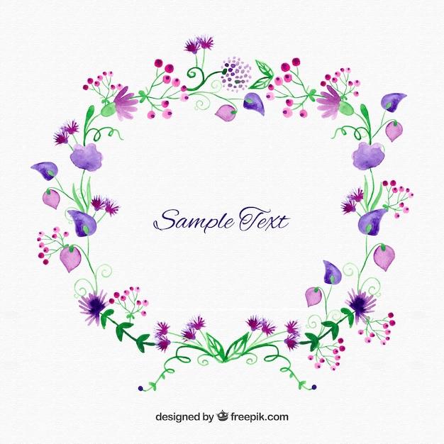 aquarelle couronne de fleurs vecteur premium