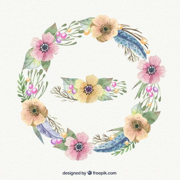 Aquarelle couronne de fleurs dans des tons pastel Vecteur gratuit