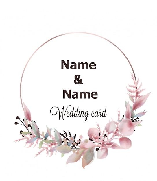 Aquarelle de couronne de mariage Vecteur Premium